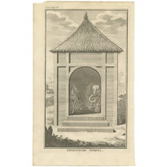 Antique Print of a Tonkin or Vietnam Temple by I. Tirion, 1739