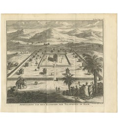 Antique Print of a Monastery of the Talapoin in Siam by I. Tirion, 1730
