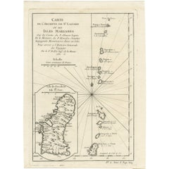 Antique Map of the Archipelago of St. Lazare 'Marianne's Islands' by J.N. Bellin