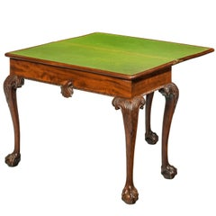 Mid-18th Century Mahogany Irish Card Table on Carved Cabriole Supports
