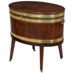 George III Period Mahogany Oval Brass Bound Wine Cooler