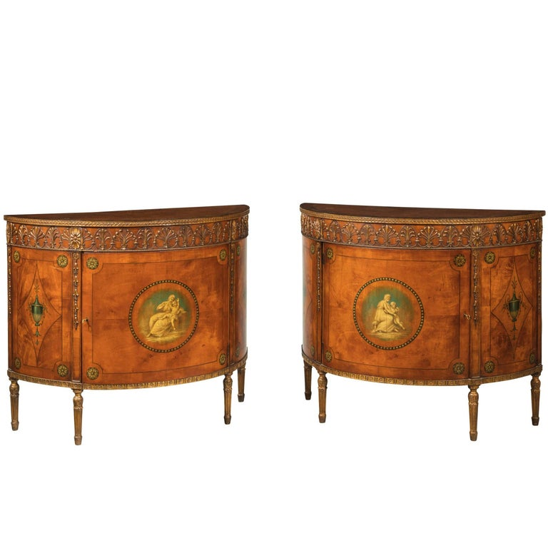 Pair of Sheraton Style Satinwood Demilune Commodes For Sale