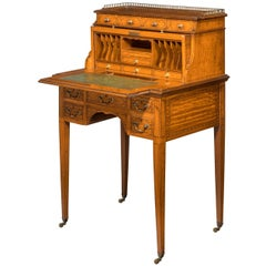 Edwardian Period Satinwood and Mahogany Ladies Cylinder Bureau