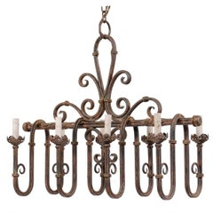 French Vintage 8-Light Iron Chandelier with Pleasingly Swagged & Scrolled Design