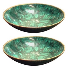 Tessellated Large Malachite and Bronze Bowl