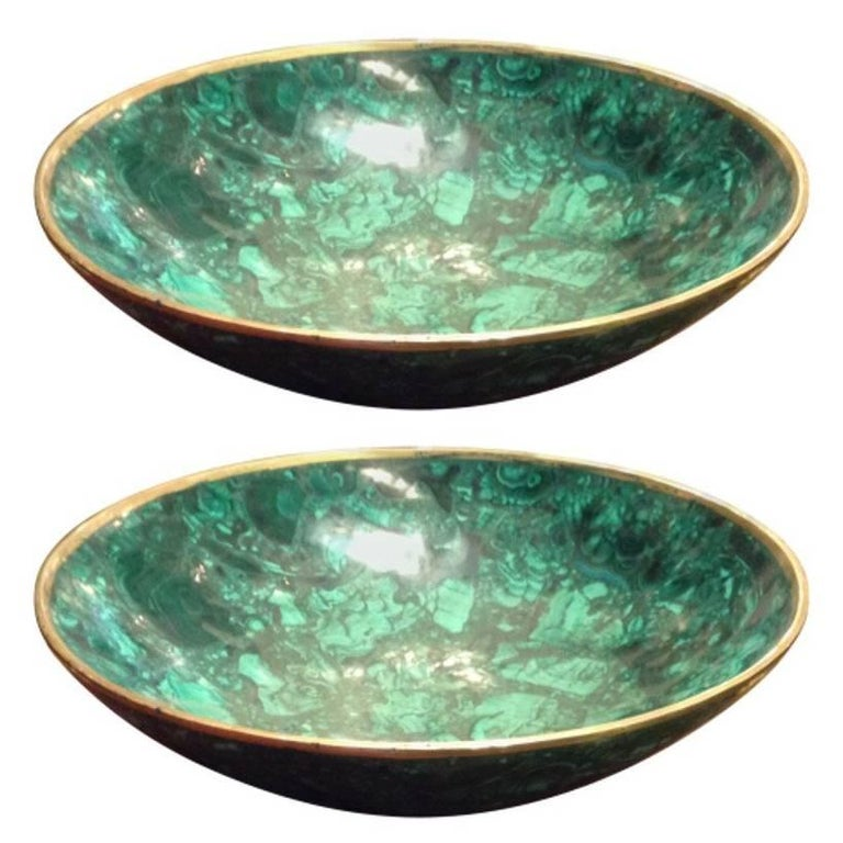 Tessellated Large Malachite and Bronze Bowl For Sale