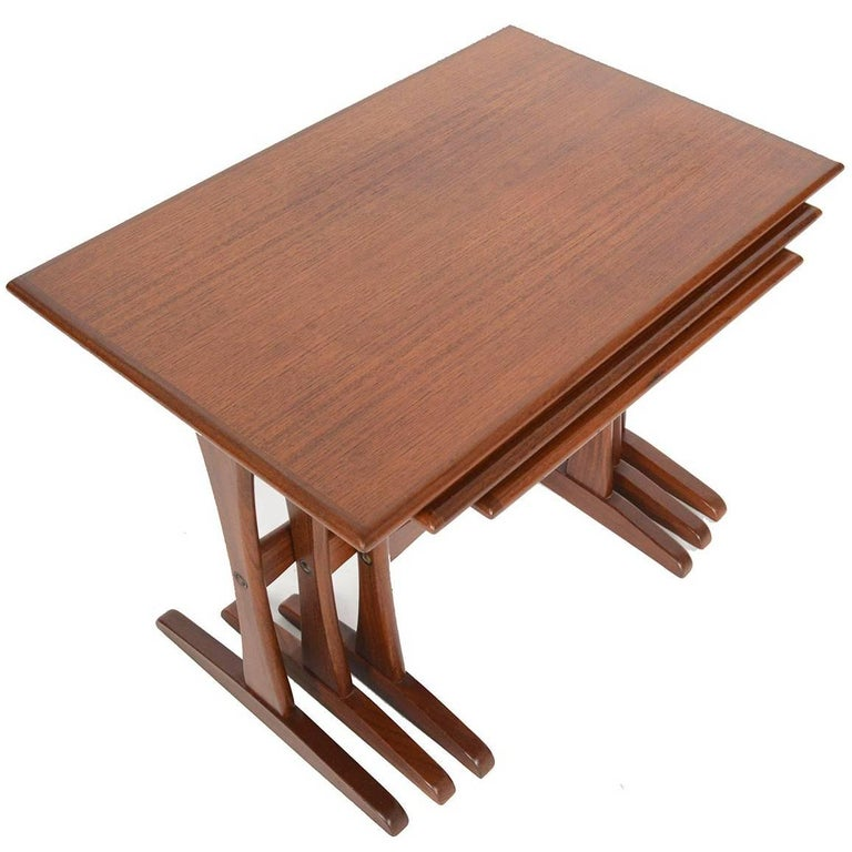 Set of Danish Modern Teak Nesting Tables with Extended Foot