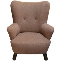 French Upholstered Wingback Armchair
