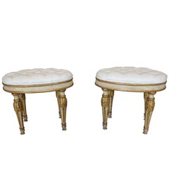 Pair of Italian Neoclassical Late 18th Century Oval Stools with Upholstered Seat