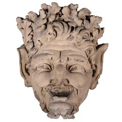 Large Fountain Satyr Mask in Stone, Early 19th Century