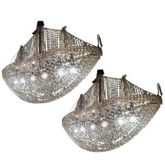 Pair of Crystal Pirate Ship Chandeliers, Italy, 1950