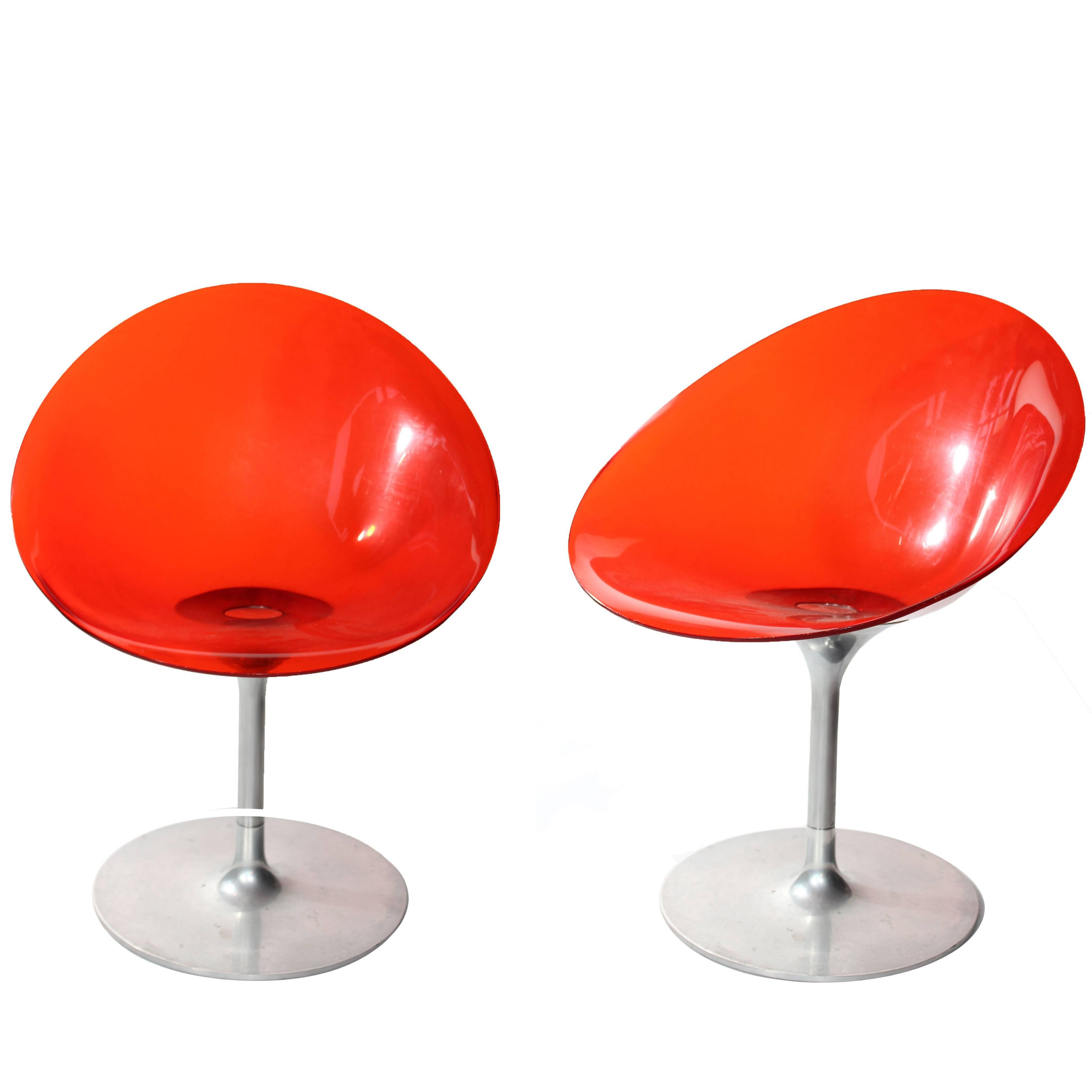 """Pair of Philippe Starck """"Eros"""" by Kartell Red Italian Lucite Swivel Chairs"""