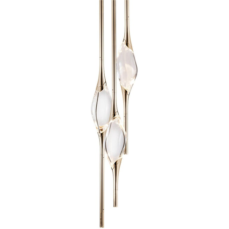"""Il Pezzo 12 Round Chandelier"" LED Lamp in Gold and Crystal"