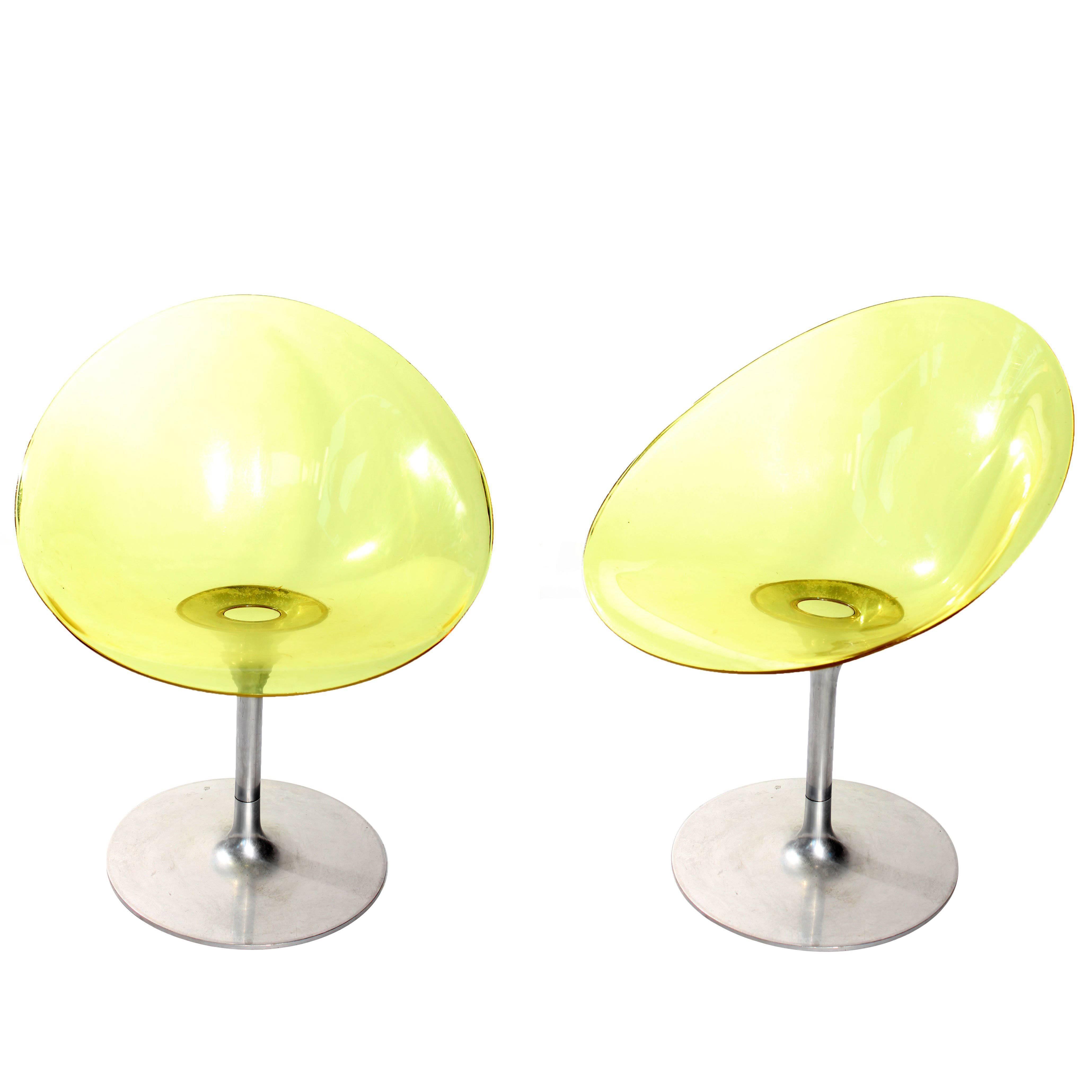 """Pair of Philippe Starck """"Eros"""" by Kartell Yellow Italian Lucite Swivel Chairs"""
