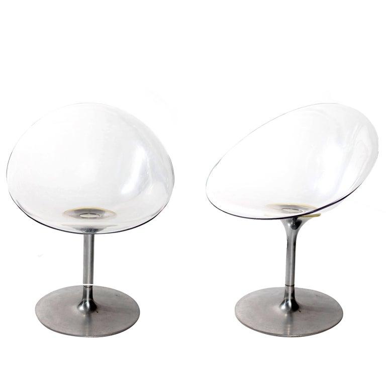 Philippe Starck for Kartell Transparent Lucite Eros Swivel Italian Chairs