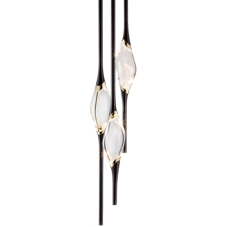 """""""Il Pezzo 12 Round Chandelier"""" Black and Gold Finish and Crystal LED Lamp"""