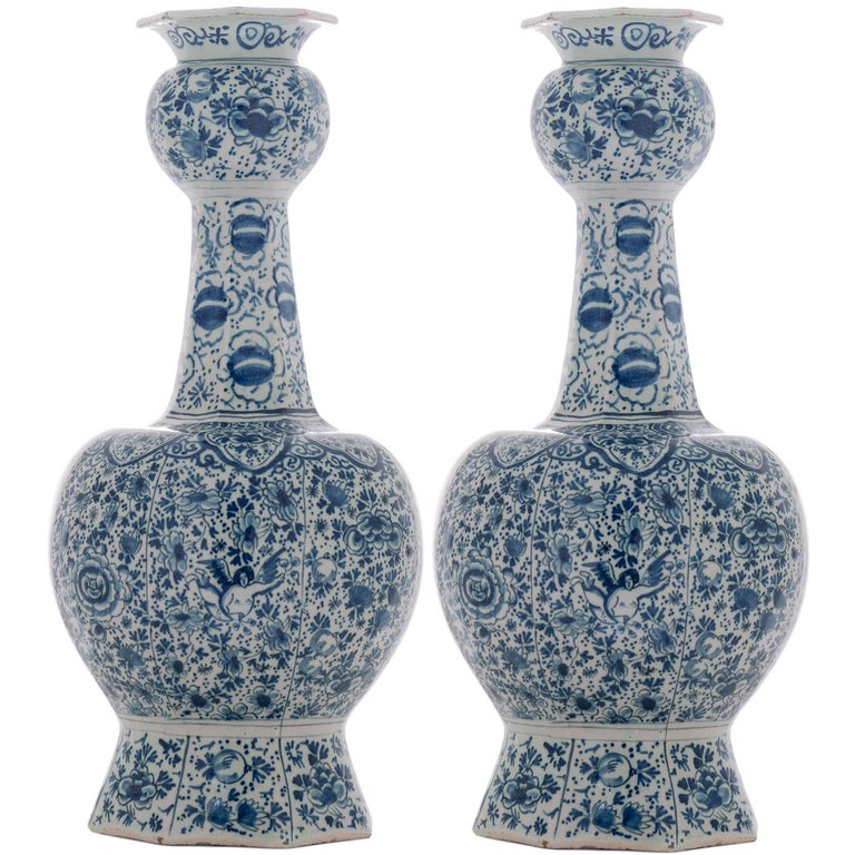 Pair of Blue and White Double Gourded 18th Century Vases in Dutch Delftware