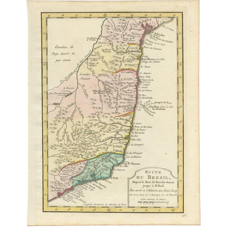 Antique Map of the Brazilian Coast by A. Van Krevelt For Sale