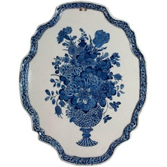 18th Century Oval Plaque in Blue and White Dutch Delftware