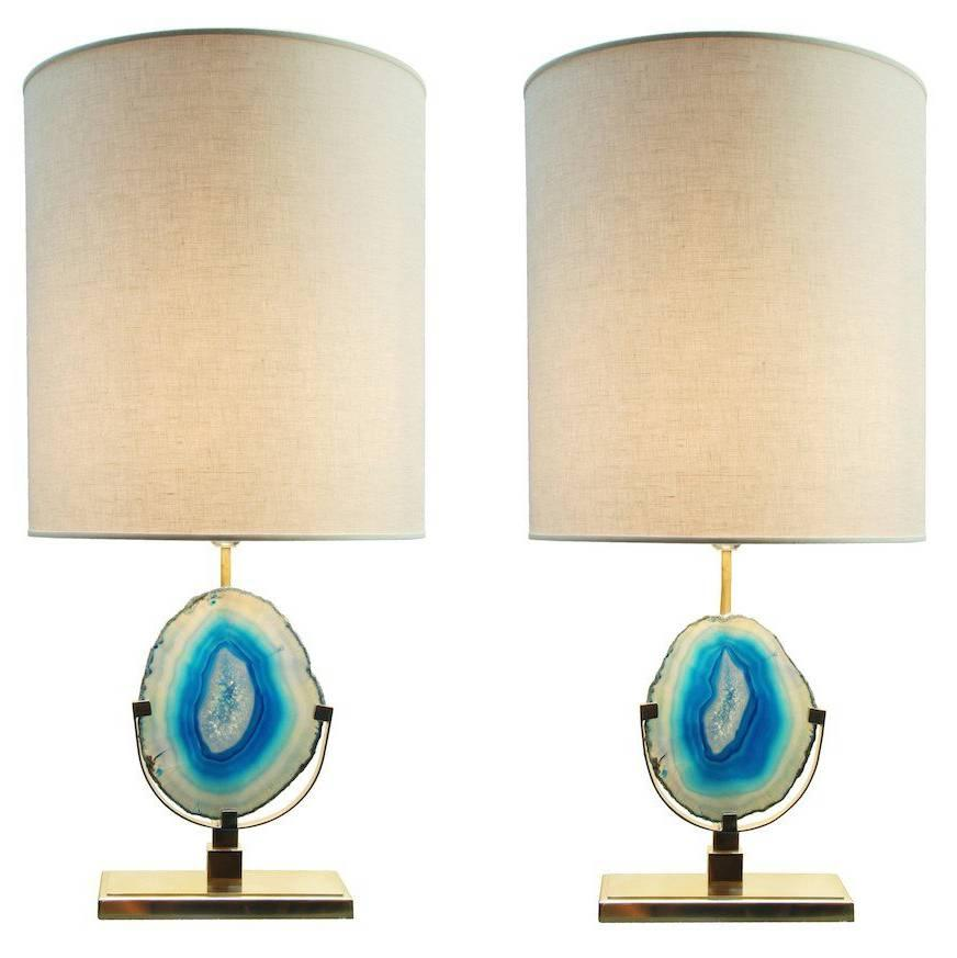 Pair of Teal Agate Stone and Natural Brass Table Lamps