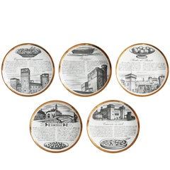 Set of Five White and Gold Ceramic Plates by Piero Fornasetti
