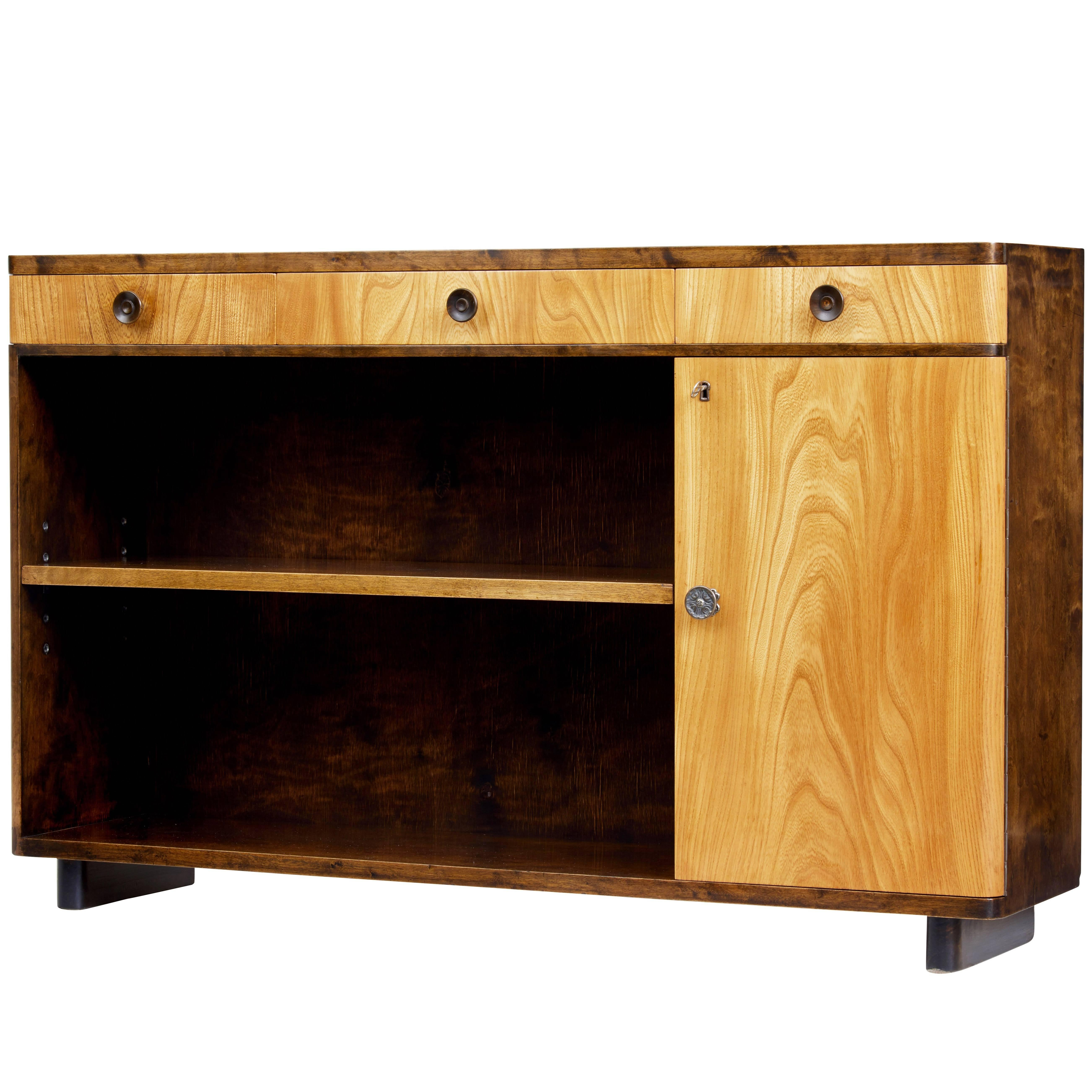 Fine Mid 20th Century Scandinavian Elm And Birch Low Bookcase