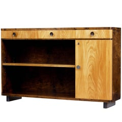 Fine Mid-20th Century Scandinavian Elm and Birch Low Bookcase