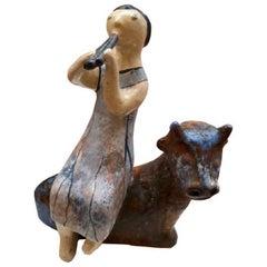Flute Player Master Work Sculpture Hand-Painted by Eva Fritz-Lindner