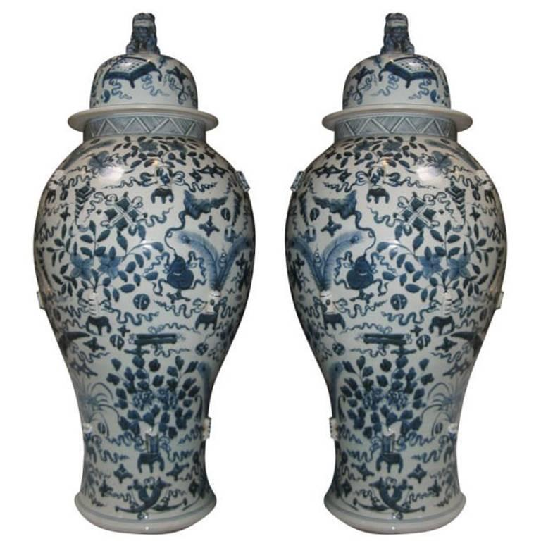 Pair Of Vintage Blue And White Chinese Temple Jars With Lids For