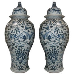 Pair of Vintage Blue and White Chinese Temple Jars with Lids