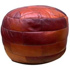 De Sede Patchwork Cognac Leather Pouf