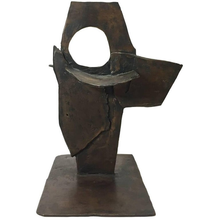 Abstract Geometric Bronze Sculpture For Sale