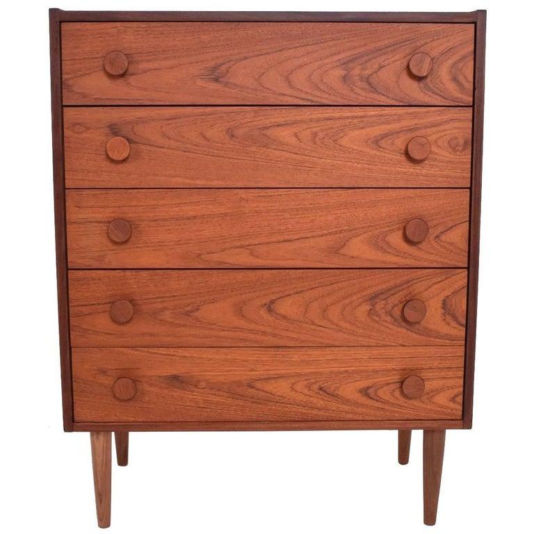 Danish Modern Teak Highboy Dresser, Mid-Century