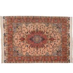 20th Century Pink Wool and Silk Tabriz Rug, 1990