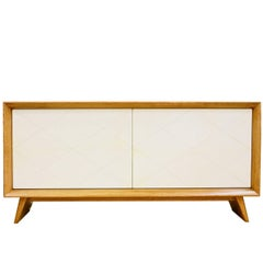 Art Deco Sideboard in Goatskin and Oak in the Style of Suzanne Guiguichon