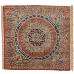 20th Century Orange Qom Rug