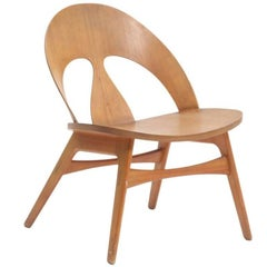 Borge Mogensen-Cherry Lounge Chair with Moulded Plywood Seat and Back