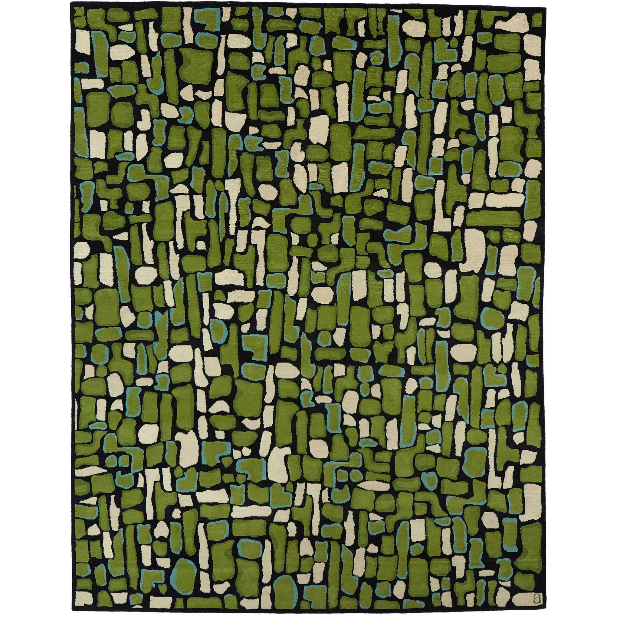 Angela Adams Pyrite, Green Rug, 100% New Zealand Wool, Hand-Knotted, Modern