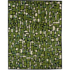 Angela Adams Pyrite, Green Rug, 100% New Zealand Wool, Hand-Knotted, Modern