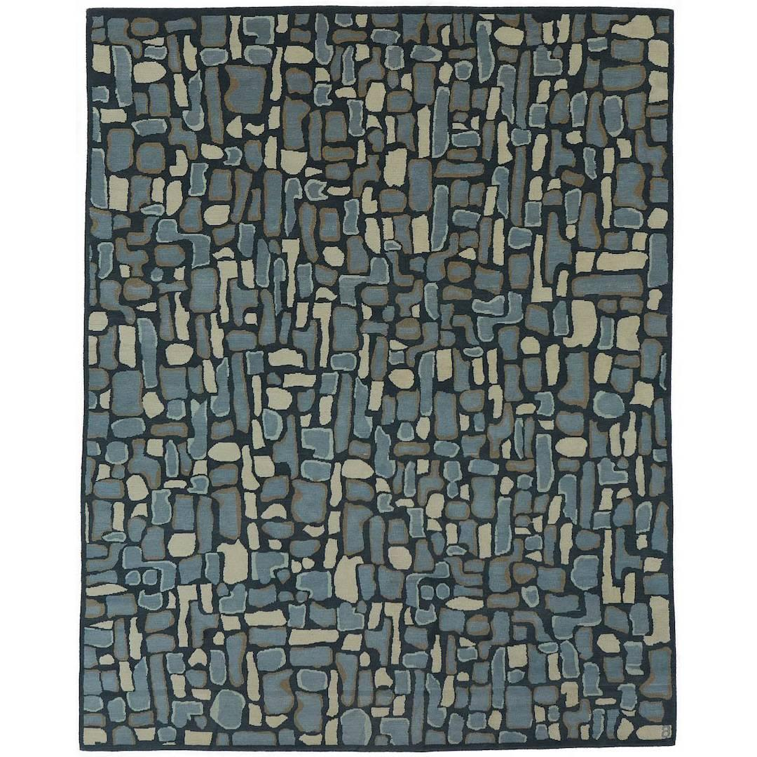 Angela Adams Pyrite, Blue Rug, 100% New Zealand Wool, Hand-Knotted, Modern