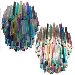 Chandelier Multi-Color Triedri, 107 Prism, Murano, 1970s