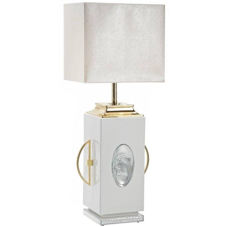 White Cameo Desk Lamp