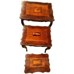 Italian 19th Century Antique Nest of Three Stack Tables