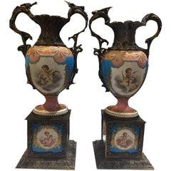 19th Century Sèvres 'Pompadour' Vases
