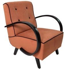 1930s Art Deco Rusty Color Velvet and Black Ebonized Wood Armchairs
