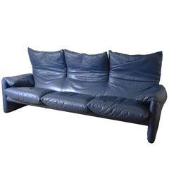 1980s Maralunga Dark Leather Three Seaters Adjustable Headrest Sofa