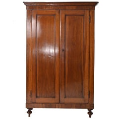 19th Century Italian Empire Walnut Wood Two Doors Cabinet