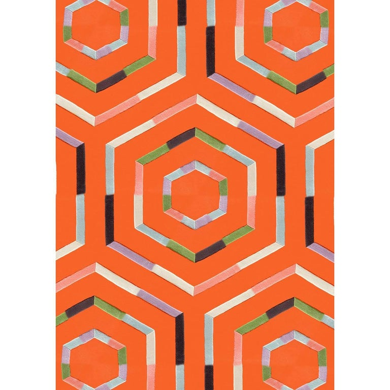 Kinder Modern Tangerine Maze Rectangular Area Rug In 100 New