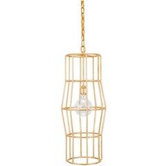 HALSTON CHANDELIER - Modern Gold Leafed Cage Chandelier