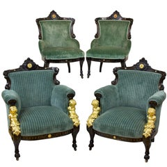 Renaissance Revival Gilt-Metal, Ebonized and Inlaid Rosewood Set of Four Chairs